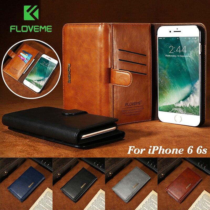 Floveme кожаный чехол для iPhone 6 6S Роскошные съемная 2 в 1 Флип держатель карты бумажник сумка Обложка для Apple iPhone 6 6S чехол для телефона