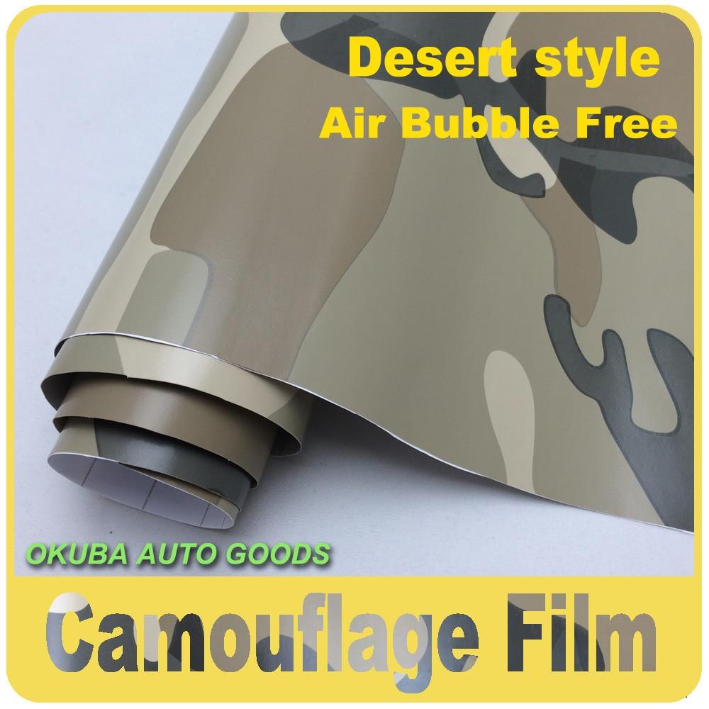 1.52*30 M désert Camouflage Film de Protection de l'enveloppe de voiture Auto autocollants Camo feuille de vinyle voiture autocollants de carrosserie Auto Film de masquage