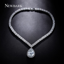 Newbark Luxury Women Statement Choker Necklaces & Pendants Love Heart Square CZ Diamond Big Teardrop Pendant Vintage Accessories