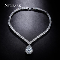 NEWBARK Elegant Teardrop Necklaces Pendants Huge CZ Centered With 4 Leaves Flower Around Paved Chain Choker