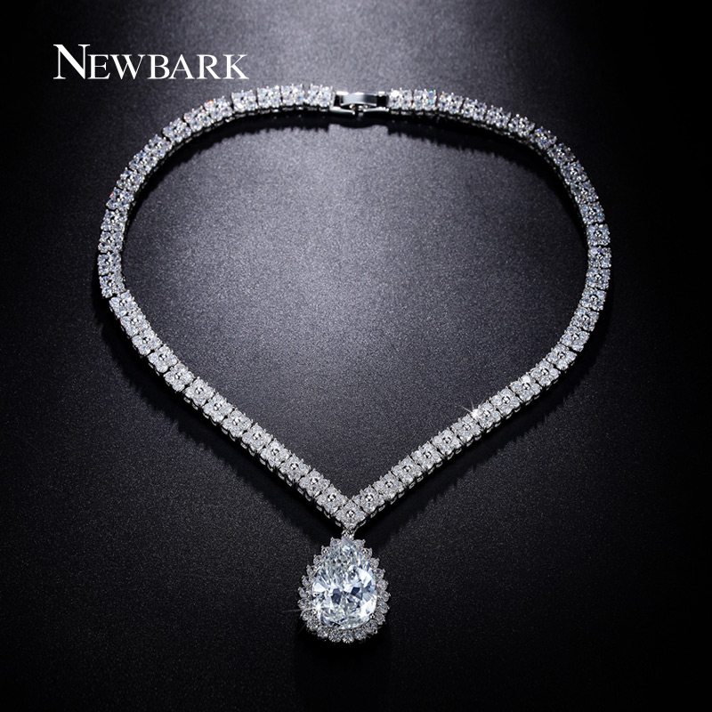 Newbark Luxury Women Statement Choker Necklaces & Pendants Love Heart Square CZ Diamond Big Teardrop Pendant Vintage Accessories