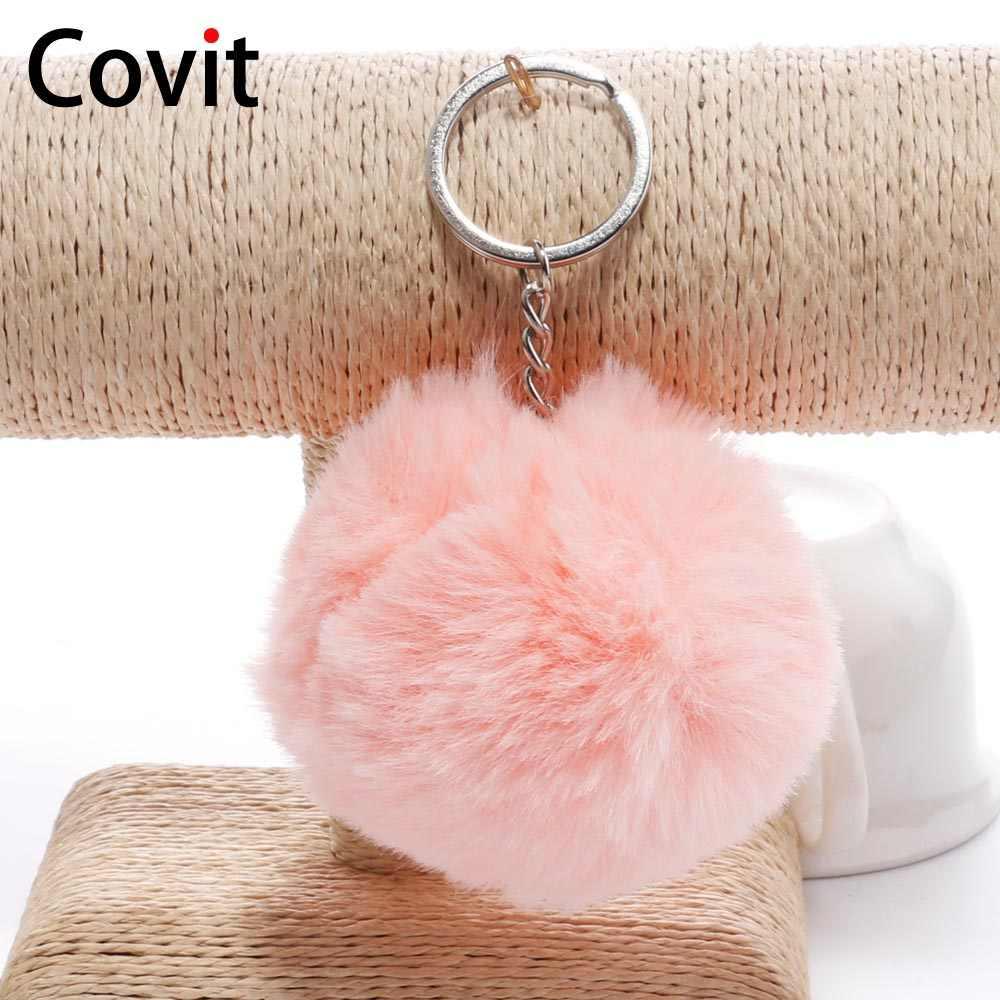Covit 8cm Cute Pompom Keychain Fake Rabbit Fur SoftBall For Women Bag Car  Fluffy Key Chains d96c462df2