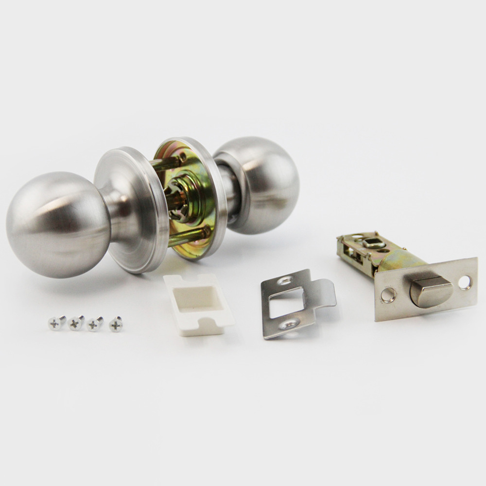 10 pcs Sliver Lock Brushed Round Ball  Stainless Steel Channel Privacy Door Knob Set Handle Lock Key for Bathroom With Accessory new mechanical indoor door lock cylindrical ball with key pure copper lock core door hardware brushed lock ball wooden door lock