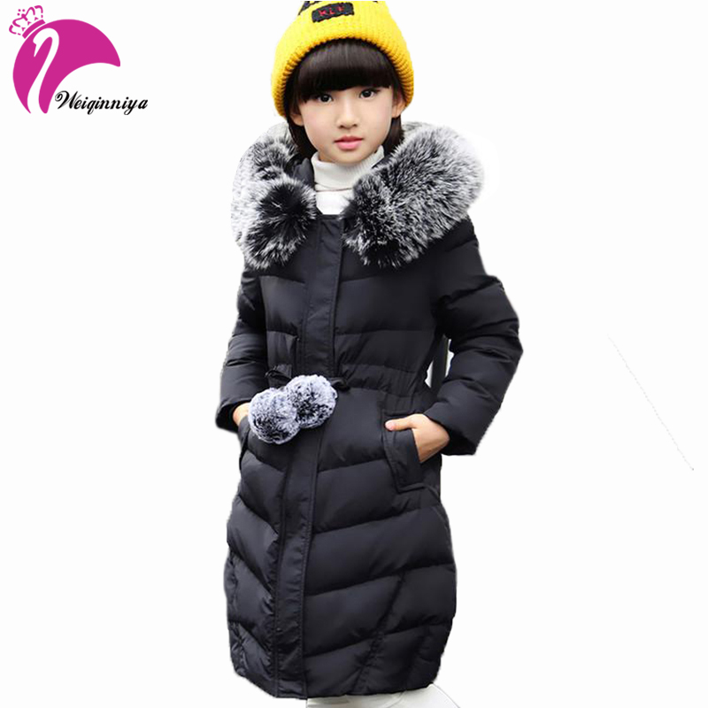 Girls Winter Parka & Down Coat New Arrivals 2017 Fashion Fur Hooded Thick Duck Down Warm Children's Clothing Casual Long Jacket