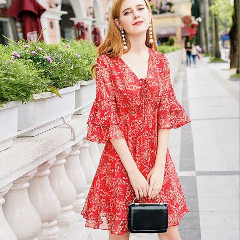 Nouvelle robe en mousseline de soie élégante 2018 V col slim imprimé robe rouge femmes bandage robe à manches papillon doux décontracté robe de fête - 3