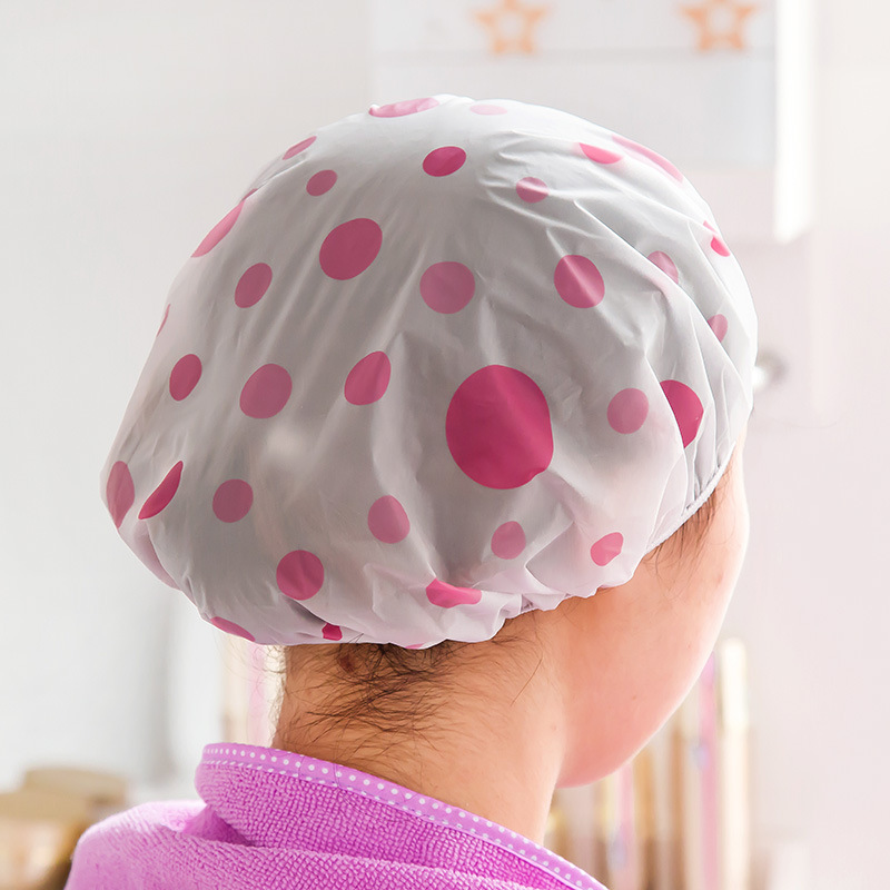 1PC Lovely thickening color dot waterproof shower cap, suitable for women Color random