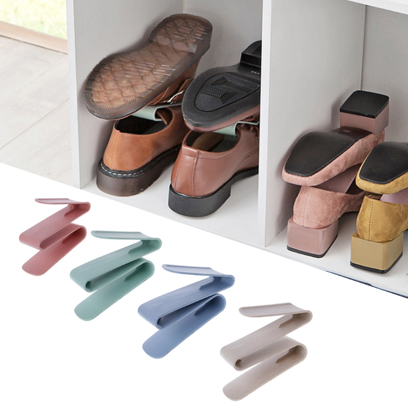 EYKOSI Double Storage Shoes Racks Organizer Shoe Stand Holder Shelves Convenient New Fashion Pink/Green/Beige/Blue