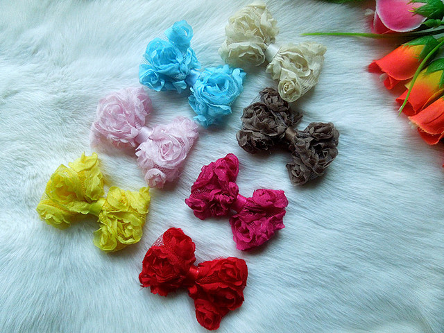 Baby girl headdress 6 cm before Chiffon rose flower bow 20pcs/lot DIY headband hair accessories  f01