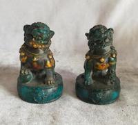 Alta: 7 CM!!! Collezione d'arte 1 Paia Cinese Vecchio Verde Pietra Scultura Fu Foo Dog Statua, decorazione della Casa Scultura di Leone
