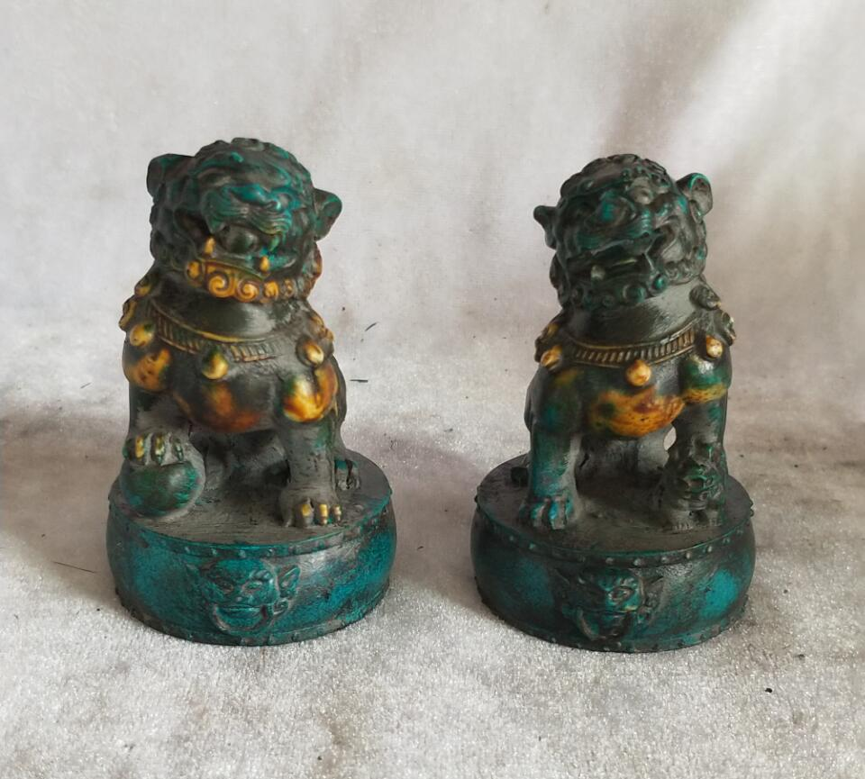 High: 7 CM!!! Art Collection 1 Pair Chinese Old Green Stone Carving Fu Foo Dog Statue,Home decoration Lion Sculpture