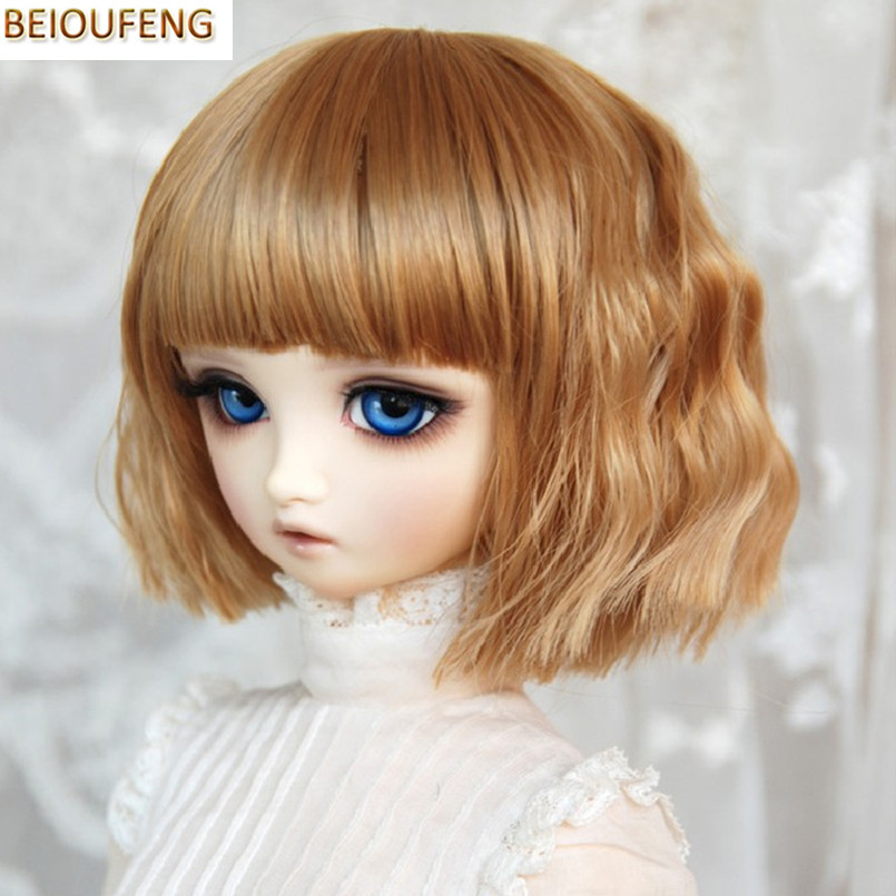 BEIOUFENG 1/3 1/4 BJD Doll Wigs Fashion Short Curly Hair Accessories for Dolls,High Temperature Wire Short Doll Wigs for Dolls wowhot 1 4 bjd sd doll wigs for dolls high temperature wires short straight bangs fashion wig 1 6 1 3 for dolls accessories toy