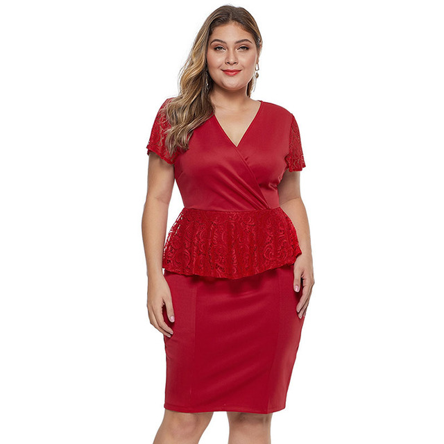 Short sleeve puplum plus red dress