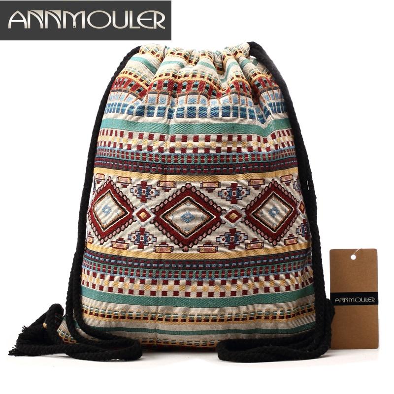 Annmouler Women Vintage Backpack Brand Canvas Shoulder Bag Bohemian Style String Bag Travel Storage Organizer Cotton Tribal Bag