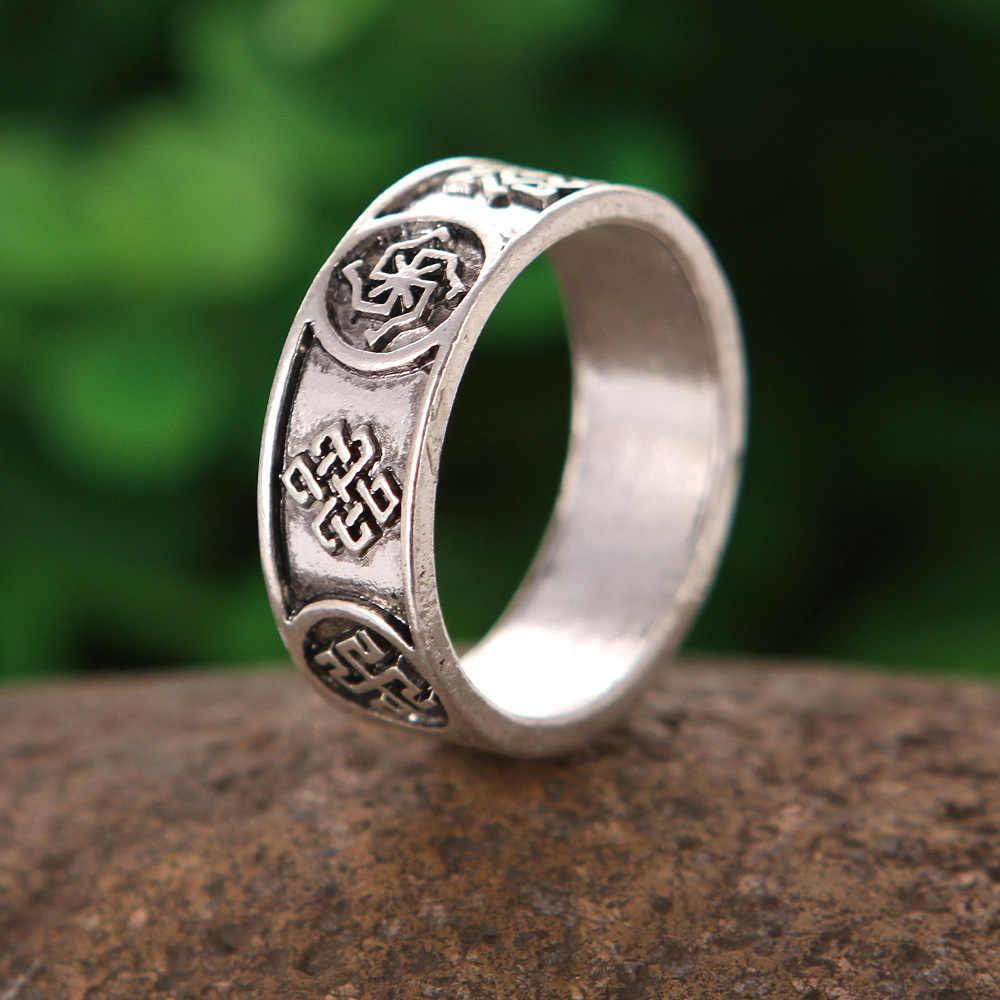 1 pc סלאבית טבעות Kolovrat Alatyr רבים קמע סימנים רונה חותם תכשיטי ויקינג קמע טבעת גברים אנל