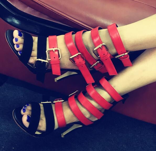 Hot sell black/red leather patchwork buckles strap peep toe high heels gladiator sandals summer boots for women sandal boots new popular black and white exquisite beads and rivets decorated three buckles peep toe high heeled short sandal boots