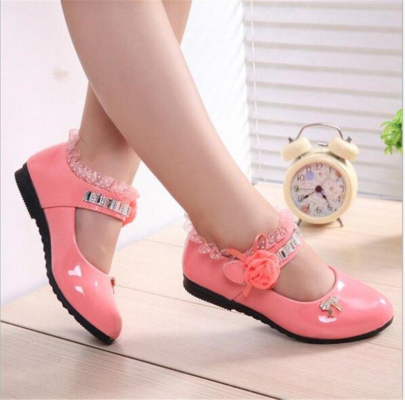Hot Sale Lovely Flower kids Shoes Solid Children Dress Shoes Girls Princess PU Shoes