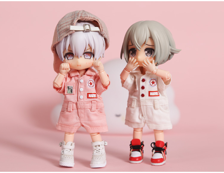 New [1/12 Doll Tooling Clothes] OB11 Printed Bib Ob11 Printed Jumpsuit OB11 Clothes (Fit Ob11,obitsu11,BJD12,1/12Doll)