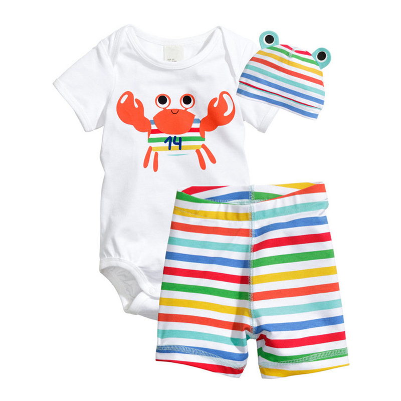 3Pcs Baby Rompers Summer Baby Boy Clothing Sets Cotton Baby Boy Clothes 2017 Newborn Baby Clothes Infant Jumpsuit Kids Clothes summer 2018 baby boy rompers cartoon animal romper jumpsuit kids clothes infant clothing macacao ropa newborn baby rompers