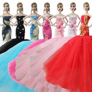 Besegad boneca laço vermelho lantejoulas cauda longa vestido de noiva princesa fishtail vestidos de noite gaze vestido roupas para barbie brinquedo
