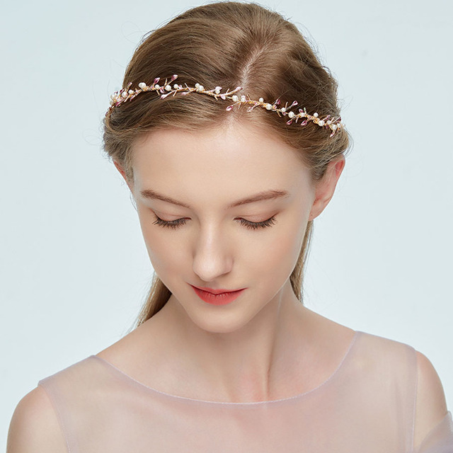 Headband Wedding Hair Accessories Hairband Golden Branch Red Leaves Pearl Bridal Jewerly Bands