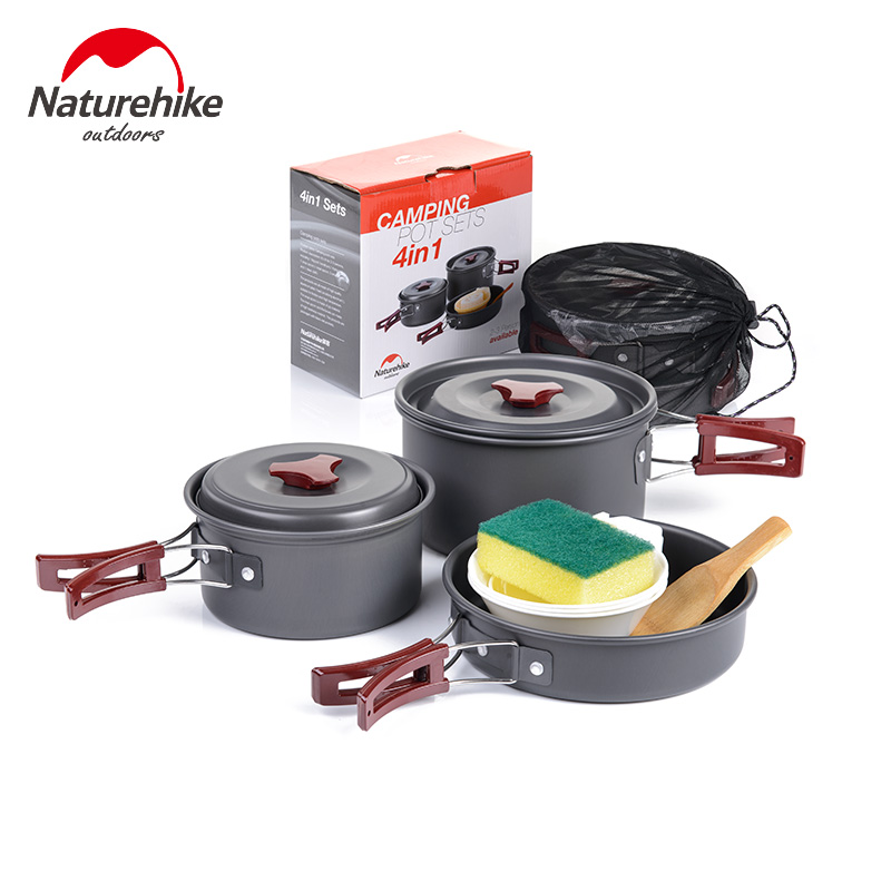 Naturehike 4-in-1 Camping Pot Sets For 2-3 Persons Non-stick Pots Pans Bowls Portable Outdoor Camping Hiking Cook Set Cookware стоимость