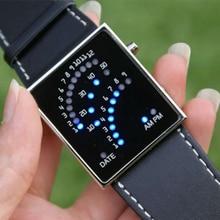 1pc men women Unisex Sport Watches Clock Binary Sector LED Digital Wristwatches Electronics Army Watch mini cute square shape H4