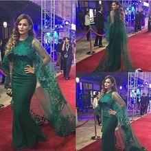 Dunkelgrün Saudi-Arabien Meerjungfrau Abendkleider mit Wrap Spitze Appliques Prom Kleider Lange Abendkleid vestido De Festa