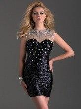 Short Prom Dresses Bezogene Mit Pailletten Perlen Sexy Schwarz Mini O Neck Sleeveless Sexy Schlüsselloch-rück Cocktail Kleider