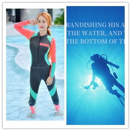 Women Snorkeling Swim Skin Full Suit Wetsuit Modest Swimwear Diving Surfing Suit Warm Water Sport Clothes anti-UV Size M-2XL