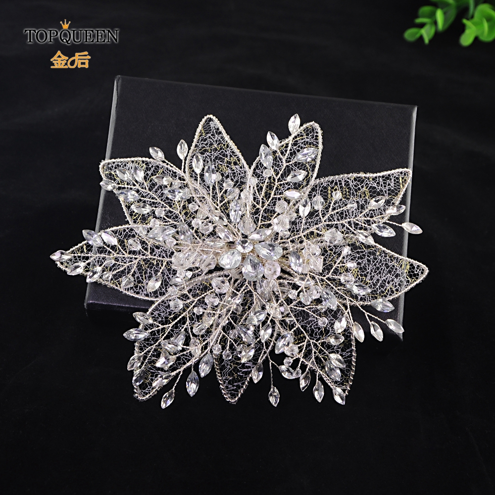 TOPQUEEN Fashion Crystal Flower Wedding Hair Jewelry Rhinestone Bridal  Headband Openwork Leaves Host Hair Accessories  HP217