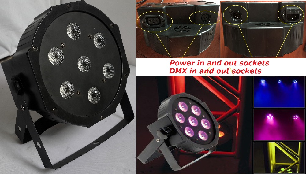 2015 7x10W RGBW DMX Stage Lights Business Lights Led Flat Par High Power Light with Professional for Party KTV Disco DJ fast russia shipping 7x12w led par lights rgbw 4in1 flat par led dmx512 disco lights professional stage dj equipment