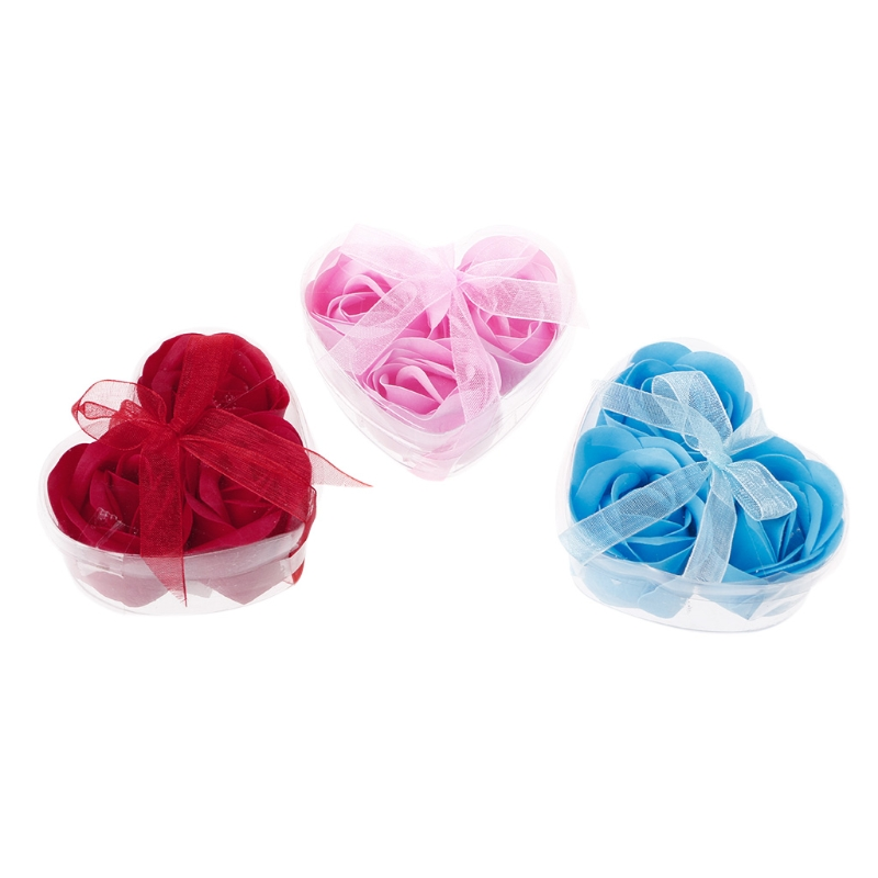 3Pcs/Set Rose Petal Flower Scented Bath Soap + Heart Shape Box For Wedding Gift Random Color New