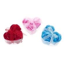 3шт% 2FSet роза лепесток цветок аромат ванна мыло +% 2B сердце форма коробка для свадьбы подарок случайный цвет новинка