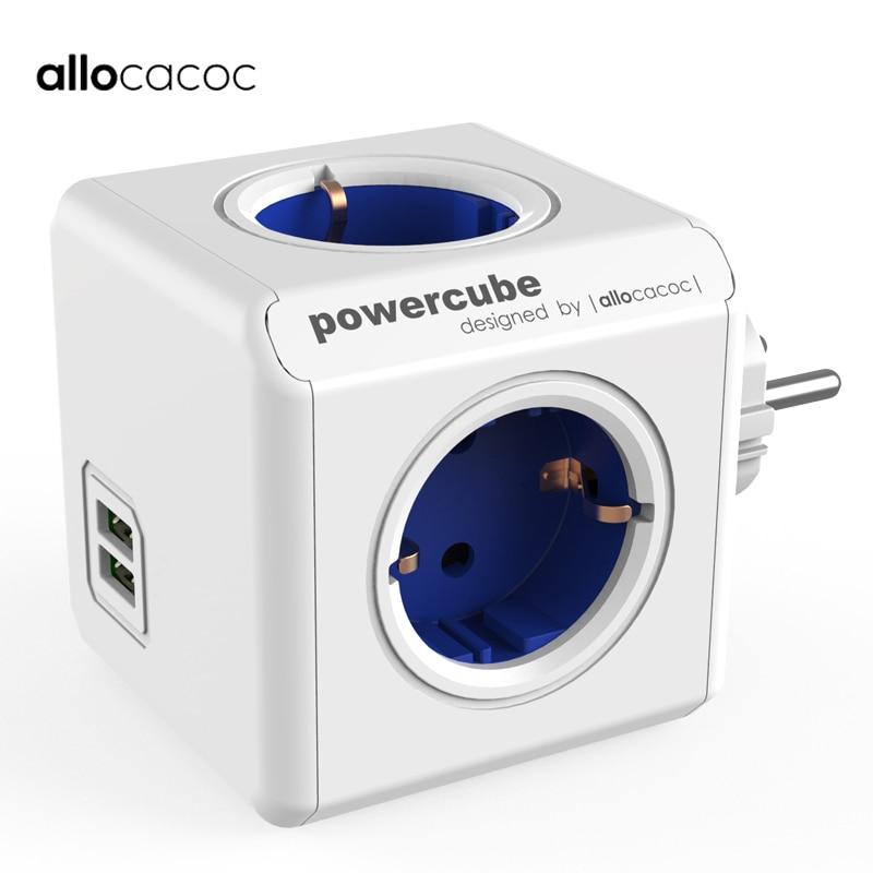 Allocacoc smart stecker Powercube EU power streifen elektrische 2 USB outlets steckdose multi travel adapter 3680 W hause Lade