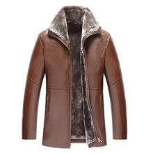 2017 Winter Genuine Leather Mens Jacket Leisure Leather Jacket Men Warm Thick Coats Long Style Mens Leather Jackets And Coats