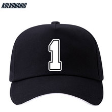 KOLVONANIG 2019 Summer New Fun Number 1 Printed Baseball Cap Cotton Men Adjustable Snapback Hat For Women Hip Hop Sun Caps