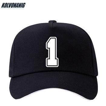 KOLVONANIG 2019 Summer New Fun Number 1 Printed Baseball Cap Cotton Men Adjustable Snapback Hat For Women Hip Hop Sun Caps