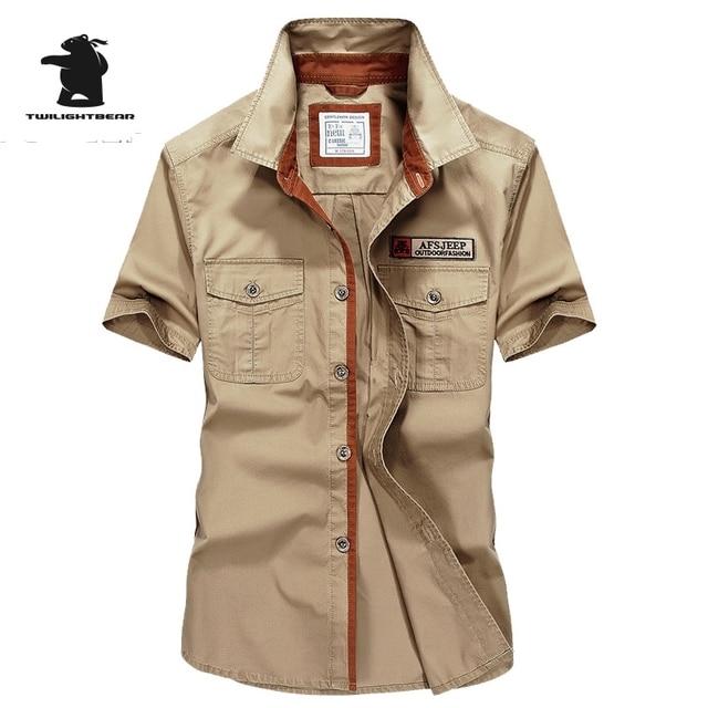 High quality Brand Military Men's Casual Shirt Summer Fashion 100% Cotton Plus Size Short Sleeve Shirts Men Pull Home C16B1758