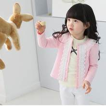 2017 Cardigan jacket Girls Kids Lace Coat Long Sleeve Outwear Clothes Pink D50(China)