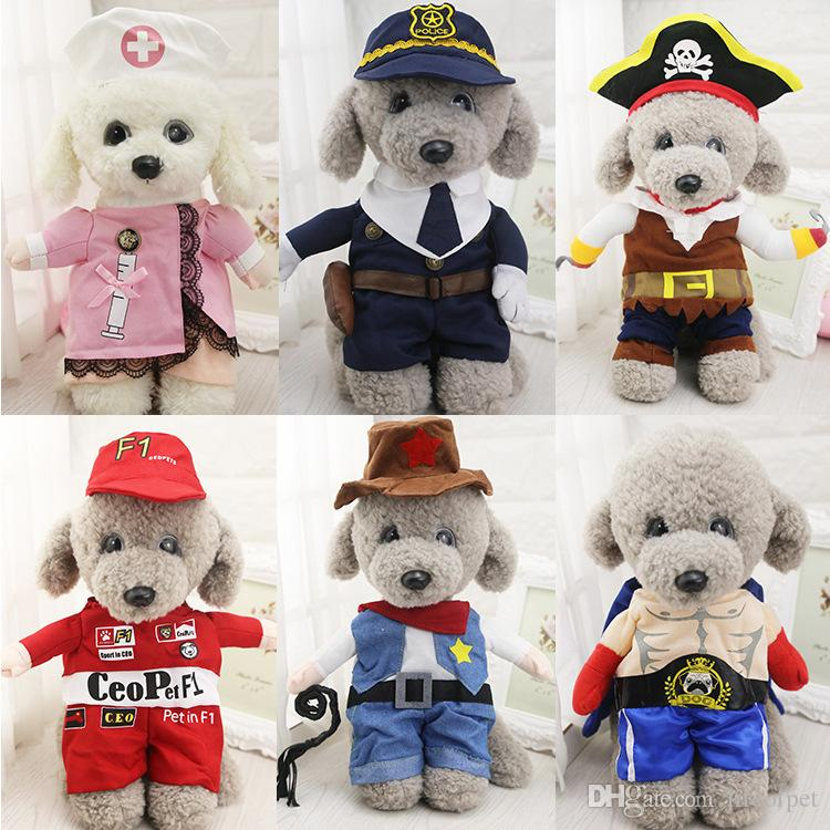 Funny Pet Costume Suit Dog Clothes Puppy Uniform Outfit Cat Clothing Nurse Doctor Policeman Pirate Cowboy Halloween Apparel