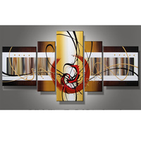 Factory Sale Abstract 5 Plane Wall Art Canvas Painting 100% Hand Painted Oil Pictures Paintings Home Living Room Decoration