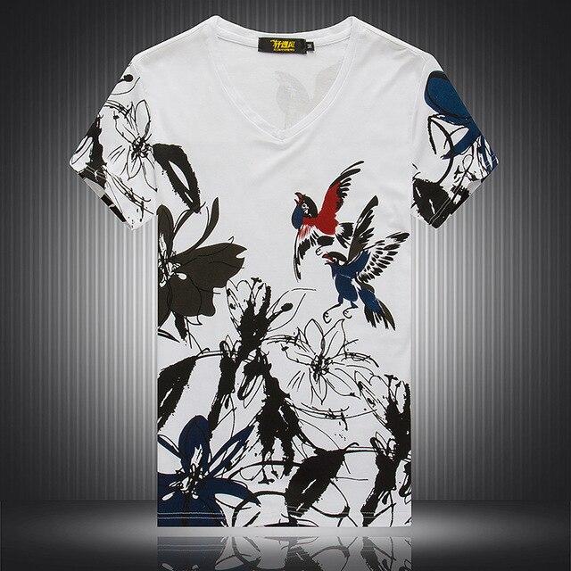 花とツバメパターン 3d プリントファッション半袖 tシャツ夏 2019 ニュートップ品質の綿ブティック tシャツ男性 M-4XL