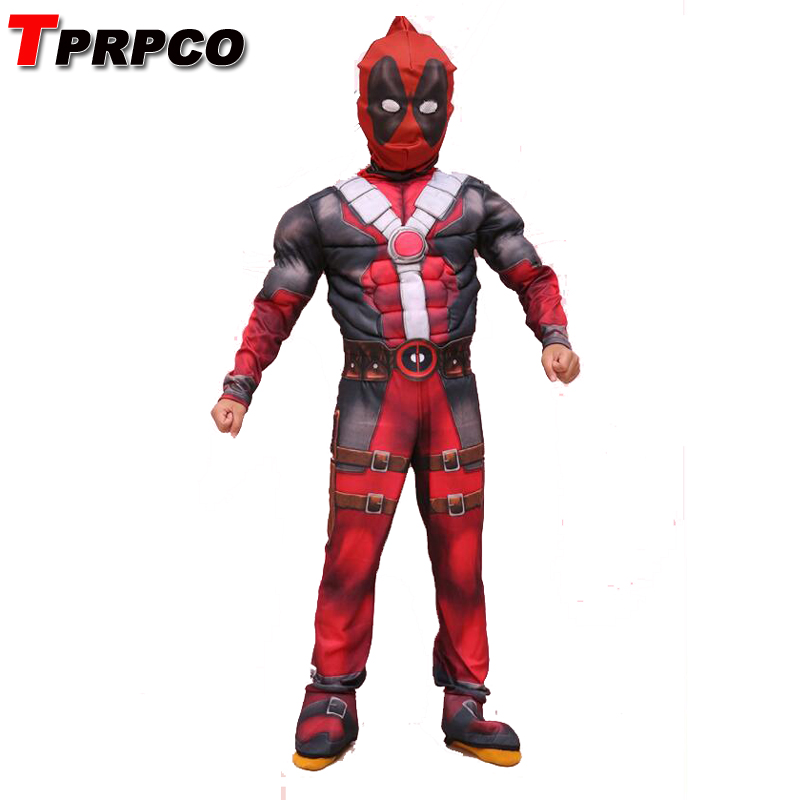 TPRPCO Children Boys Deadpool Muscle Costume Marvel Anti-Hero Muscle Movie Halloween Carnival Party Cosplay Costume NL164