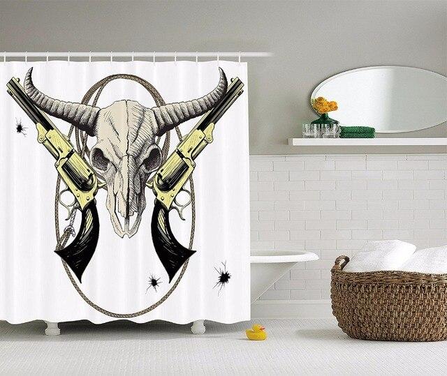 US $22.99  Hochwertigen Kunst Duschvorhänge Bison schädel revolver  westlichen muster Badezimmer Dekorative Moderne Wasserdicht duschvorhang in  ...