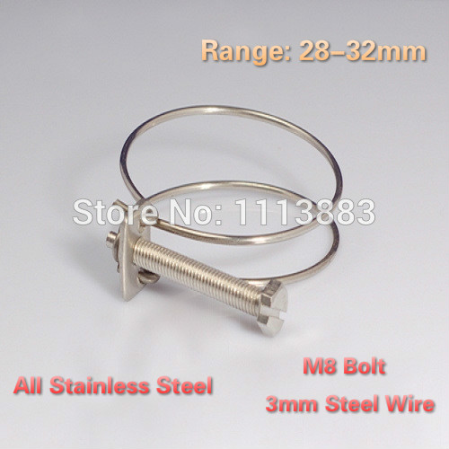20PCS/LOT 28 32mm Double Wire Hose Clamps All Stainless Steel ...