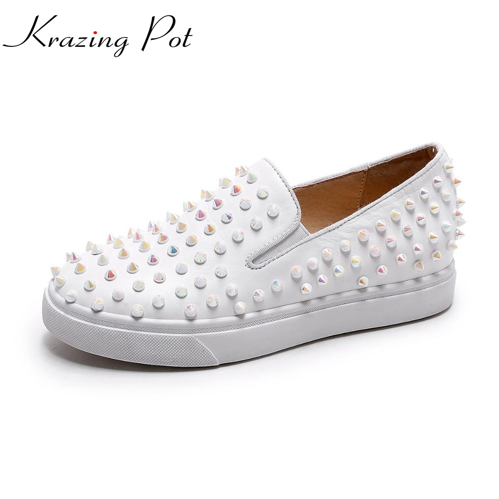 New style fashion rivets increasing flat platform round toe genuine leather elegant loafers casual preppy style women shoes L10