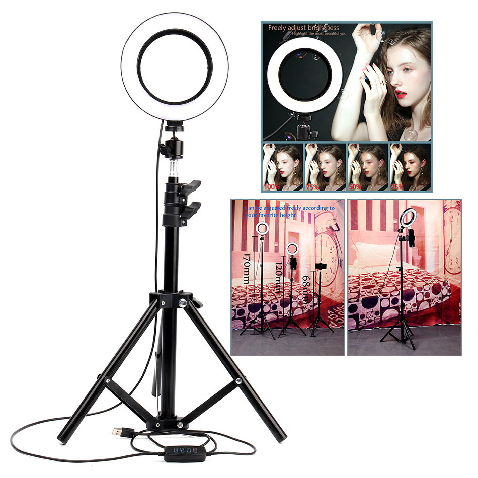 HLIGHT USB Interface Dimmable LED Ring Light Lamp Camera Photography Video Makeup Lamp with Tripod Clip,B