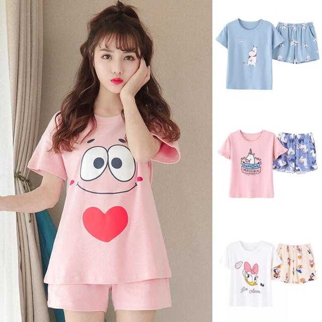 2018 Summer Pijamas Women Japanese Kawaii Cartoon Pajamas Shorts Set Female  Cute Sexy Night Suit Cotton Sleepwear big yard M-XXL 10f06b4f0