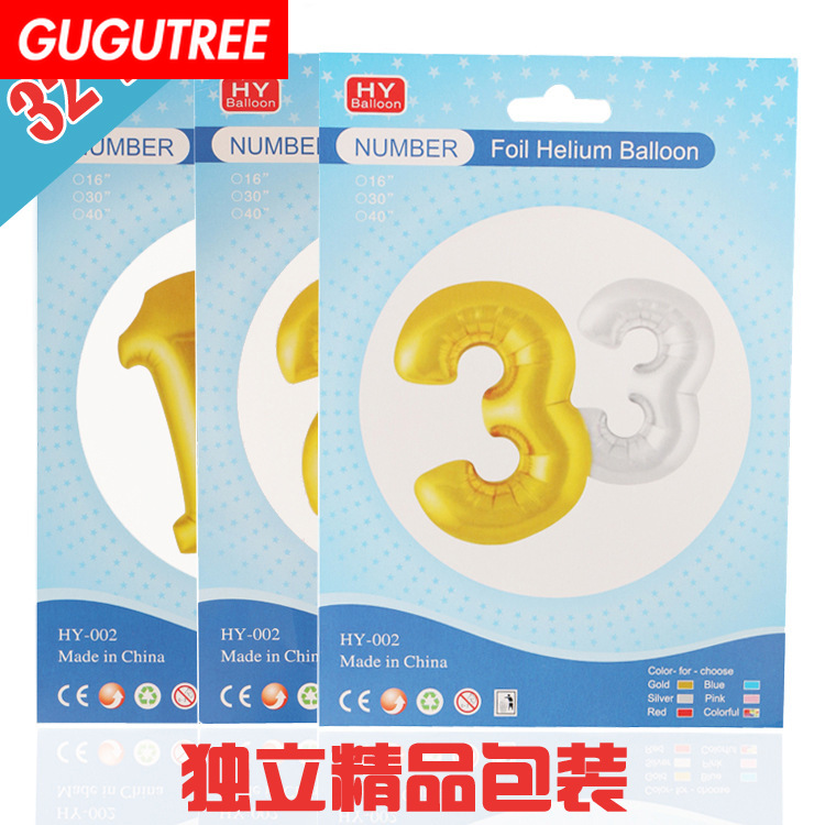 Decorate 32inch gold black blue red number foil balloons wedding event christmas halloween festival birthday party HY-42