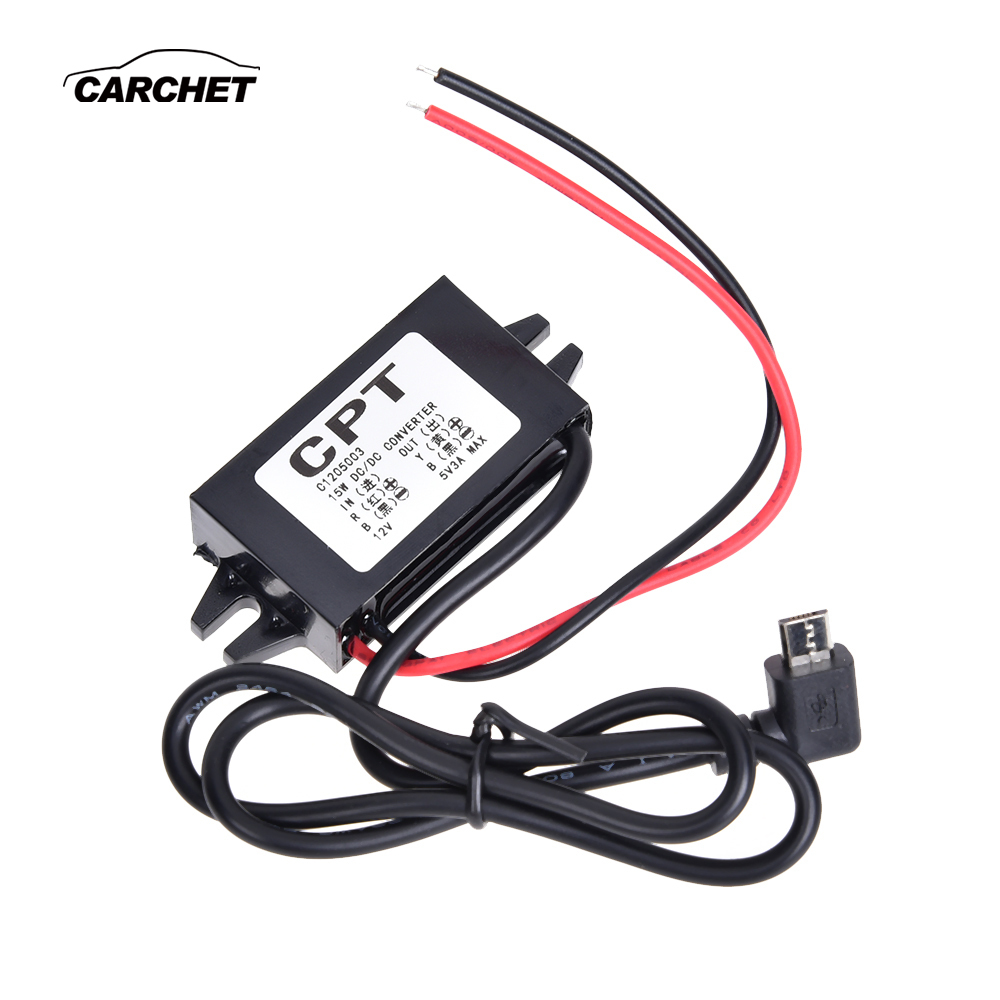 CARCHET DC/DC Converter Regulator For Car 12V To 5V 3A Step Down Power Module Supply Micro USB Waterproof Converter 12v 5v